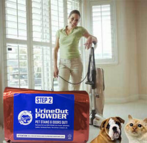lady with vacuum-and-urin out powder